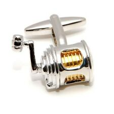 Fishing Reel Cufflinks Fisherman Gift + Box & Cleaner