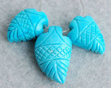 21ctw Stabilized Tibetan Turquoise Carved Briolette Beads