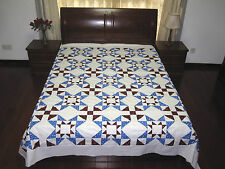 "Eight Hands Around NEW PATCHWORK QUILT TOP, 90"" x 90"", Bright Blue, Deep Red, #6"