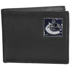 vancouver canucks logo nhl ice hockey leather bi-fold wallet usa made