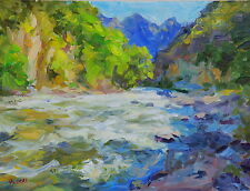 """Oil painting, Landscape """"RIver in Mountains"""" impressionist Russian realism art"""
