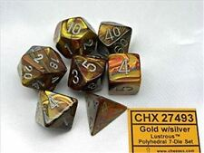 Chessex Polyhedral 7 Die Lustrous Gold with Silver Numbers Dice 7 Set CHX 27493