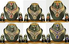 New Wholesale Lot of 6 Necklaces Partywear Wedding Goldtone Kundan Jewelry Sets