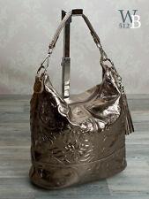 ITAL. eyecatcher Schultertasche Shopper Tasche ECHT LEDER Altgold Prägung 029A