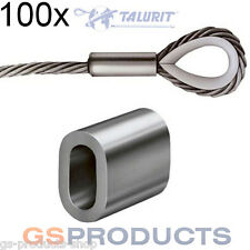 100x 2mm Aluminium Ferrules Steel Wire Rope Crimping Sleeve