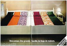 Publicité Advertising 1973 (2 pages) Linge de lit les draps Descamps