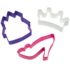 New Wilton 3 PRINCESS COOKIE CUTTERS piece set  Castle, Slipper and Crown
