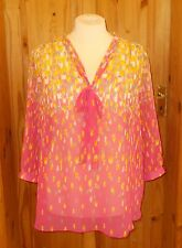 KALEIDOSCOPE pink yellow grey chiffon 3/4 sleeve kaftan tunic top BNWT 22 48