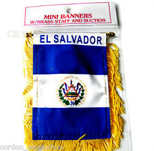 EL SALVADOR MINI POLYESTER INTERNATIONAL FLAG BANNER 3 X 5 INCHES