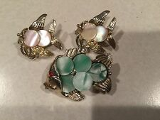 Lot of 3 Fashion Pins - Fish Fishes Pin Brooch w Pearly Disks