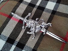 Scottish Lion Rampant Sword Kilt Pin Chrome Finish/HIGHLAND SWORD LION KILT PIN