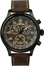 "Timex T49905, Men's ""Expedition"" Brown Leather Watch, Chronograph, T499059J"