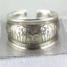 Details about  Classical Unique elephant Tibet Silver bangle Cuff Bracelet #2089