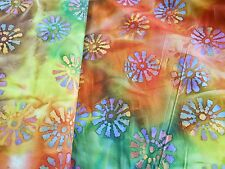 """BATIK floral-one-of-a-kind 100% cotton quilting fabric 3 yd x 44"""" wide"""