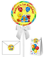 40 BABY SESAME STREET  BIRTHDAY PARTY LOLLIPOP STICKERS ~ goody bags, seals