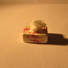 Tissue box ~ Ceramic ~ Red and white ~ Doll House Miniature ~ 1/12th scale