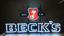 Rare New Beck's Beer Key Beer Bar Real Glass Neon Light Sign FAST FREE SHIP