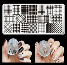 3pcs/set Born Pretty Checked Design Nail Art Stamping Plate Stamper Scraper Kit