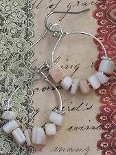 Silver & Shell Chip Hoop Earrings. Boho Chic. Mother Of Pearl. Beach. Ocean.