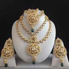 RED GREEN GOLD INDIAN KUNDAN COSTUME JEWELLERY NECKLACE EARRINGS MATHA PATTI SET