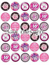 30 X  16th Birthday for her Edible Rice/Wafer Paper cake toppers