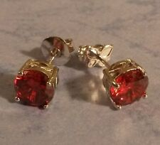 C02. Plum 7mm round red ruby, 18ct WHITE GOLD  filled stud earrings GFTBOXD