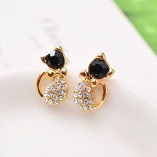 1 Paar Katzen Ohrstecker Ohrringe Gold mit Strass Schwarz Schleife Neu 1064