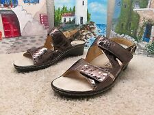 MEPHISTO MOBILS WOMEN SLINGBACK ANKLE STRAP SANDALS SHOES SZ 38 7.5 8 METALLIC