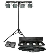 CHAUVET MINI-4BAR 2.0 Mobile LED DJ Stage Wash Light System w/Tripod & Carry Bag