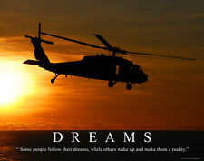 US Military Motivational Poster Print Marines Air Force Army Helicopter  MILT37