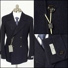 Mens CANALI 1934 Blue Flannel Wool Crop Peacoat DB Overcoat Jacket 58 48 3XL NWT
