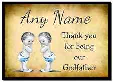 Vintage baby twin garçons parrain merci personnalisé napperon