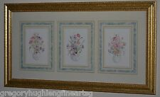 3 BEAUTIFUL WATERCOLOR PRINTS IN A GOLD MUSEUM FRAME READY TO HANG