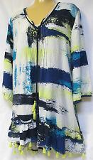 plus sz XS / 14 VIRTU TS TAKING SHAPE Paint Print Tunic relaxed floaty top NWT!