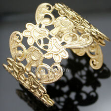 Ornate Gold Flower Chantilly Metal Lace Filigree Scroll Bracelet Bangle Cuff