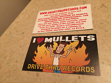 Drive Thru Records I LOVE MULLETS Sticker LOT Tour Concert Finch New Found Glory
