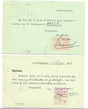 NEDERLAND 1918/1919 2 BRIEFKAART MET QUITANTIE ZEGEL