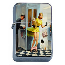 Windproof Refillable Fliptop Oil Lighter Classic Vintage Model Pin Up Girl D-169