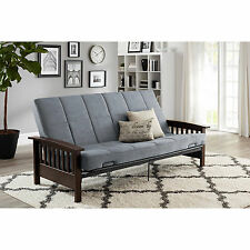 Convertible Futon Sofa Bed Couch Full Size Mattress Solid Wood Arm Furniture NEW