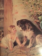 Small Vintage Framed Print of Girl And Dog Black White Shepherd Baby Floral