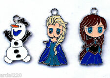 DIY Frozen Cartoon Elsa, Anna and Olaf 1 inch necklace/bracelet Pendant charms