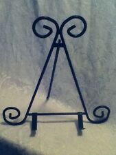 Ornate Black Metal Scroll Display Easel Cook Book Art Plate Holder Arm Stand 12""