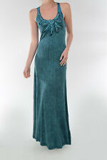 T-PARTY Blue Stonewashed Pearl Flower Lace Maxi Dress Size L  NWT