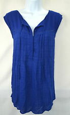 Lucky Brand Women's L Royal Blue Tie Neck Sleeveless Peasant Top Blouse NEW NWT