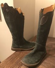 Camper Women's Sz 36/6 Knee High Teal Green Suede Tall Boots Flat Gum Soles