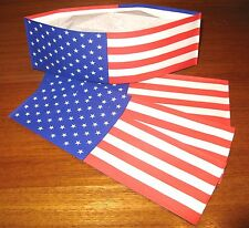 4 ~  ' FLAG ' Old Fashion Ice Cream Social Soda Jerk Paper Hats * Party Planner