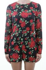 BNWOT H&M Black silky red floral rose print open back romper playsuit size 10