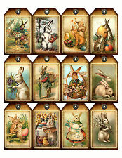 12 Primitive Easter Bunnies Vintage Hang Tags Scrapbooking Paper Crafts (227)
