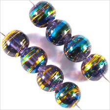 Lot de 50 perles en verre Décorées 6mm Bleu Lilas