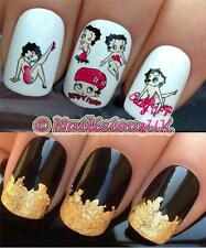 NAIL ART SET #178 BETTY BOOP DESIGN 2 WATER TRANSFERS/DECAL/STICKERS & GOLD LEAF